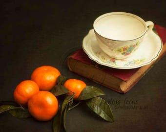 Satsuma Orange Still Life, Clementine Antique Tea Cup Vintage Book Fruit Photo, Teacup Kitchen Photography Dark Gray Moody Print Rustic Farm