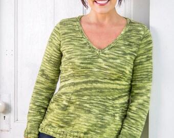PDF Knitting Pattern Portland Top-Down Pullover #111