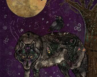 I DON'T SPEAK HUMAN 5x7 Fine Art Print, Wolf Art, Wolf Print, Wolf Wall Art, Wolf Illustration, Wolf Decor, 5 x 7 Wolf Print, Raven, Crow