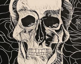 Skull & Roses Linocut Original Artwork