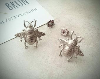 Silver Bee Stud Earrings Silver Bee Stud Earrings Bee Earrings Bumble Bee Earrings Bee Jewelry