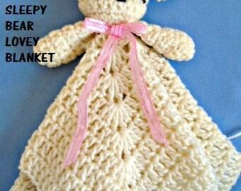 CROCHET PATTERN, Gift For Baby, Sleepy Bear Lovey Blanket, Shower Gift, Unisex for boys or girls, #2084, crochet for baby, gift for children