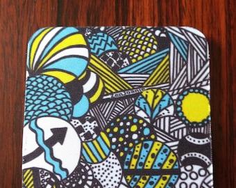 "Zentangle Coasters - Fun Drinking Coasters - Set of Artistic Coasters hand drawn by ZenJoanie - ""Illumination"""