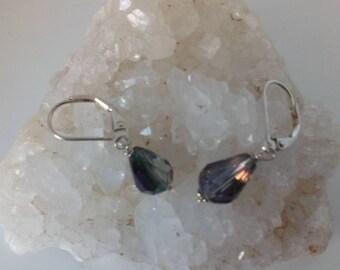 Purple Rainbow Briolette Crystal and Sterling Silver Drop Earrings