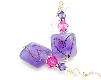 Violet Purple Earrings, Lampwork Earrings, Heart Earrings, Glass Earrings, Glass Bead Earrings, Valentine Jewelry, Valentine Earrings