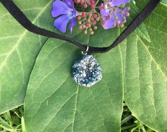 Dark Grey-Turquoise Geode Choker