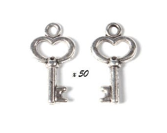 50 silver 15x9mm key charms