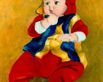 """art print of infant baby painting  """"A Kid Wearing Two Cultural Traditions"""" baby painting infant, baby pictures, A4 print 8x10, 6x8 print"""