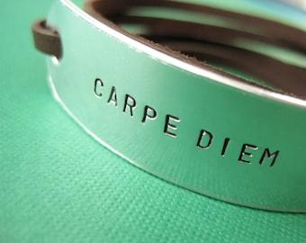 Personalized Bracelet - Carpe Diem - Seize the Day - Leather Wrap