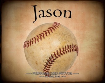 Personalized Baseball Photograph, Personalized Sports Photo Gifts for Boys Room Decor Baseball Wall Art p138