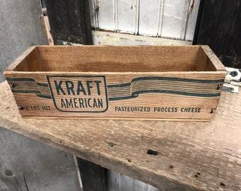 Vintage wood Kraft cheese box