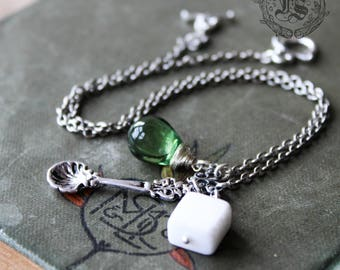Absinthe Necklace with Marble Stone Sugar Cube. The Green Fairy.