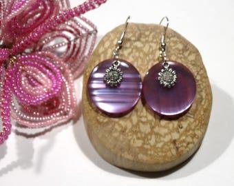 Violet Purple resin sunflower silver disc earrings / gift idea for woman