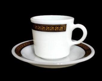 Cup and Saucer Pyrex Mug Ebony Fleur de Lis Black Gold