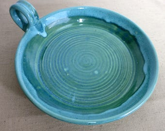 Vintage Pottery Dish. Candle Dish, Candle Holder, Blue and Green Pottery Dish, Pottery Candle Dish, Vintage Pottery Candle Plate - V234