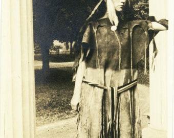 vintage photo 1914 American Indian Maiden Costume leather fringe dress