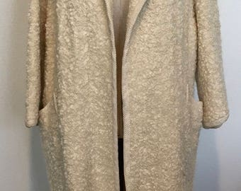 Vintage Wool Boucle Coat Size M/L c. 1960