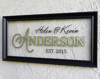 Modern Family Name Sign. Custom Family Name Sign. Picture Frame Established Family Sign. Established Sign. Personalized Wedding Gift. 10x20