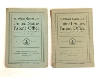 Lot of 2 Vintage Official Gazette of the U.S. Patent Office Feb March 1937 Illustrated Magazine Journal