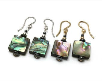 Abalone Earrings - Square Abalone and Hematite