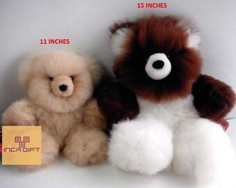 Real Super Baby Alpaca Fur Teddy  Bear - Peruvian Products - Stuffed Alpaca Toys - Handmade