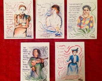 Revolutionary Women Notecards - Set of 5 - Wollstonecraft, Matilaba, Caceres, Luxemburg, Krupskaya
