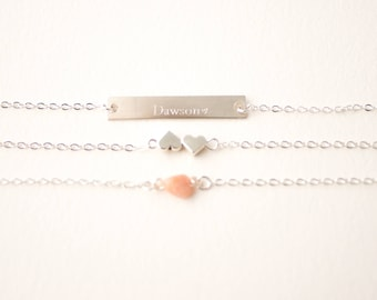 Custom Jewelry Sterling Silver | Personalized Mother's Day Gift | Handwriting Jewelry | Pink Opal | Layered | Child's Signature Jewelry