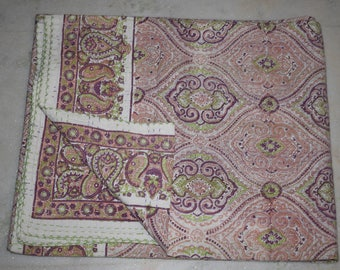 Indian Cotton handstitched Bed Sheet new paisley Design Bedspread Queen Size Bed Cover  Throw 56