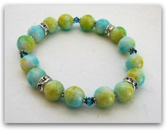 Stretch Bracelet, Blue and Yellow Beaded Bracelet, Fits 7 to  7 1/4 inch wrist, Body Jewelry, Jewelry Accessories 1208