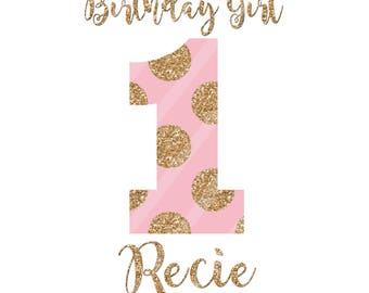 Pink Gold Dots Birthday Girl Number Printable Digital Download File for iron-ons, heat transfer, Scrapbooking, Cards, Tags, DIY, YOU PRINT
