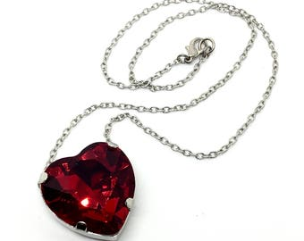 Red Heart Crystal Necklace - Large Dark Crimson Red Heart Shaped Pendant - Available In Silver or Gold, Swarovski Crystal