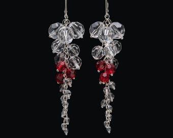 Bridal Swarovski Red Crystal Clear Sterling Silver Earrings 8.6 cm long, Crystal Clear Red Drop Earrings, Wedding Earrings