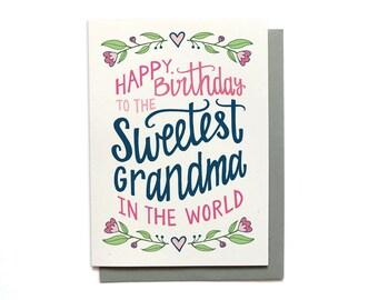 Grandma Birthday Card - Sweetest Grandma in the World - Grandma Card Illustrated Birthday Card