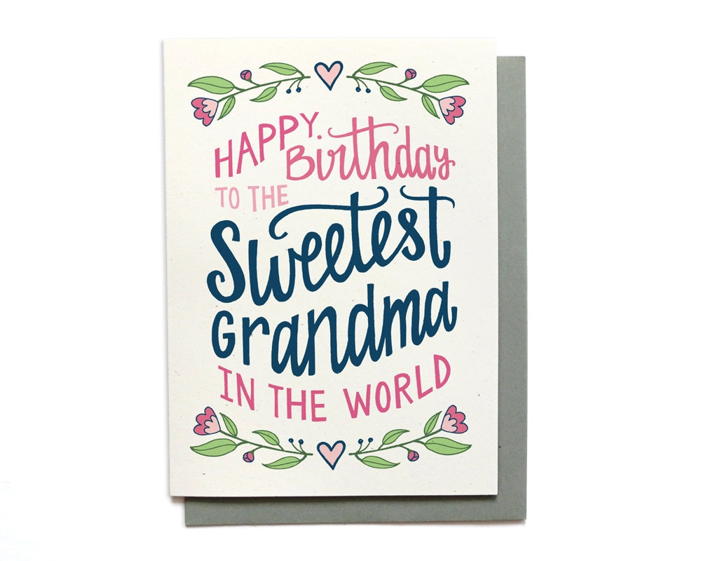 Grandma birthday card sweetest grandma in the world for Birthday gifts for grandma from granddaughter