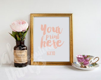 8x10 gold frame / Styled stock photography / Instant download /