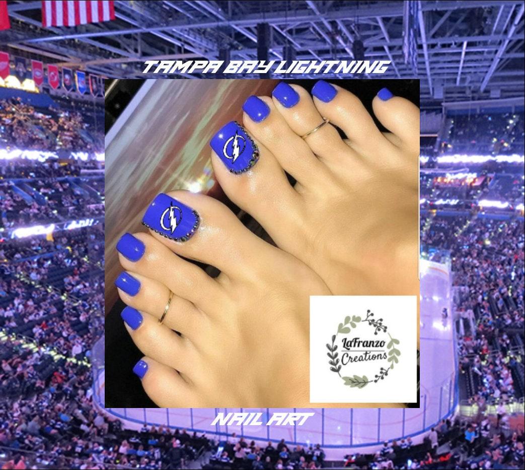Tampa Bay Lightning Adhesive Vinyl Nail Decals, NHL Nail Art, Tampa ...