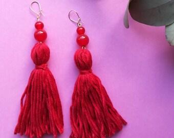 Bright red tassel earrings, red dangly earrings, vintage beaded statement earrings, gold earrings, festival style, bold tassel earrings