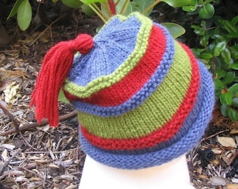 Baby Hat knitting pattern - tassled beanie -  PDF (baby toddler size)