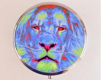 Trippy Lion Pill Box Case Pillbox Holder Trinket Stash Box Psychedelic Neon Pop Art
