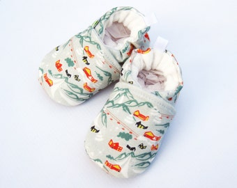 Organic Knits Vegan Ski Chalet / All Fabric Soft Sole Baby Shoes / Made to Order / Babies