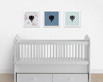 Nursery Art Print Set, Hot Air Balloon Print Set, Baby Boy Decor, Baby Girl Decor, Playroom Decor, Playroom Art Prints, Baby Room Art