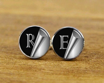 custom personalized cufflinks, custom initials, wedding cufflinks, initial tie tacks, custom monogram cuff links, groom cufflinks, tie clips