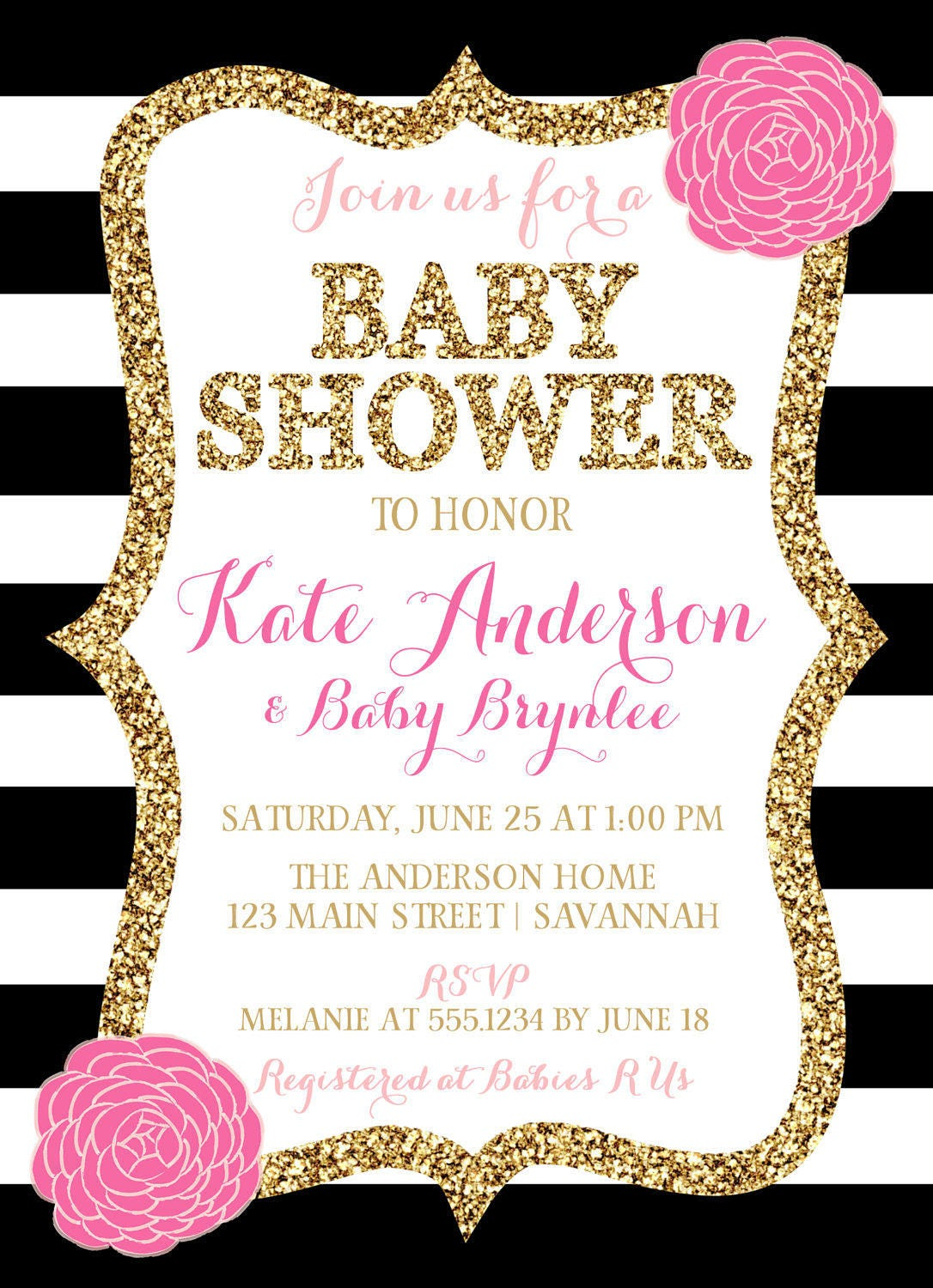 Pink Black And Gold Baby Shower Invitation, Pink Floral Baby Shower ...