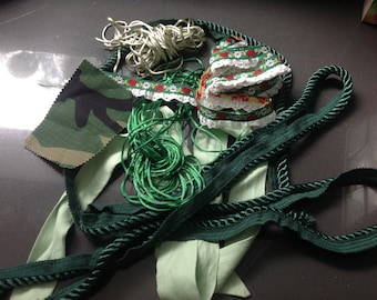 Ribbon and fabric scraps grab bag - Green