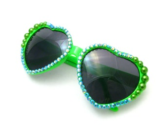 Lime Mermaid Heart Shaped Sunglasses - Bright Green Sunnies w/ Iridescent Aqua Blue Rhinestones, Green Pearls - Kawaii Raver Fashion