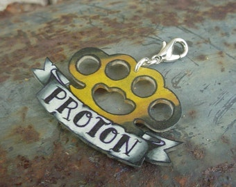 Brass knuckles custom vintage tattoo pet dog cat id tag (or necklace) Size Large