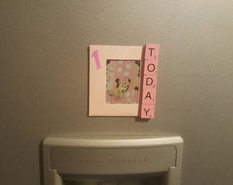 1 Today Magnetic Photoframe. Pink Scrabble letters