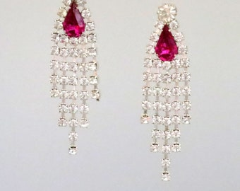 Vintage Dressy Post Chandelier Earrings Hot Pink Faceted Crystal Rhinestone
