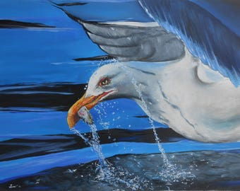 Oil on paper-Oil Seagull on paper-Modern Oil Painting-Sea oil painting-Super realistic painting-Sea and sky painting-Original wall oil art