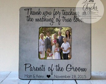 Thank You For Teaching Us The Meaning Of True Love Picture Frame, Custom Wedding Picture Frame, Gift For Parents, Parents Of The Groom Frame